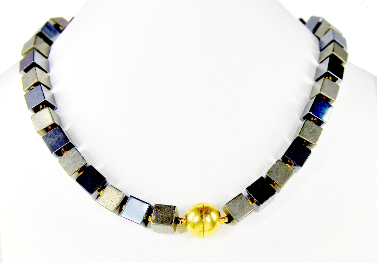 Gorgeous Necklace From Gemstones Pyrite and Hematite in ...