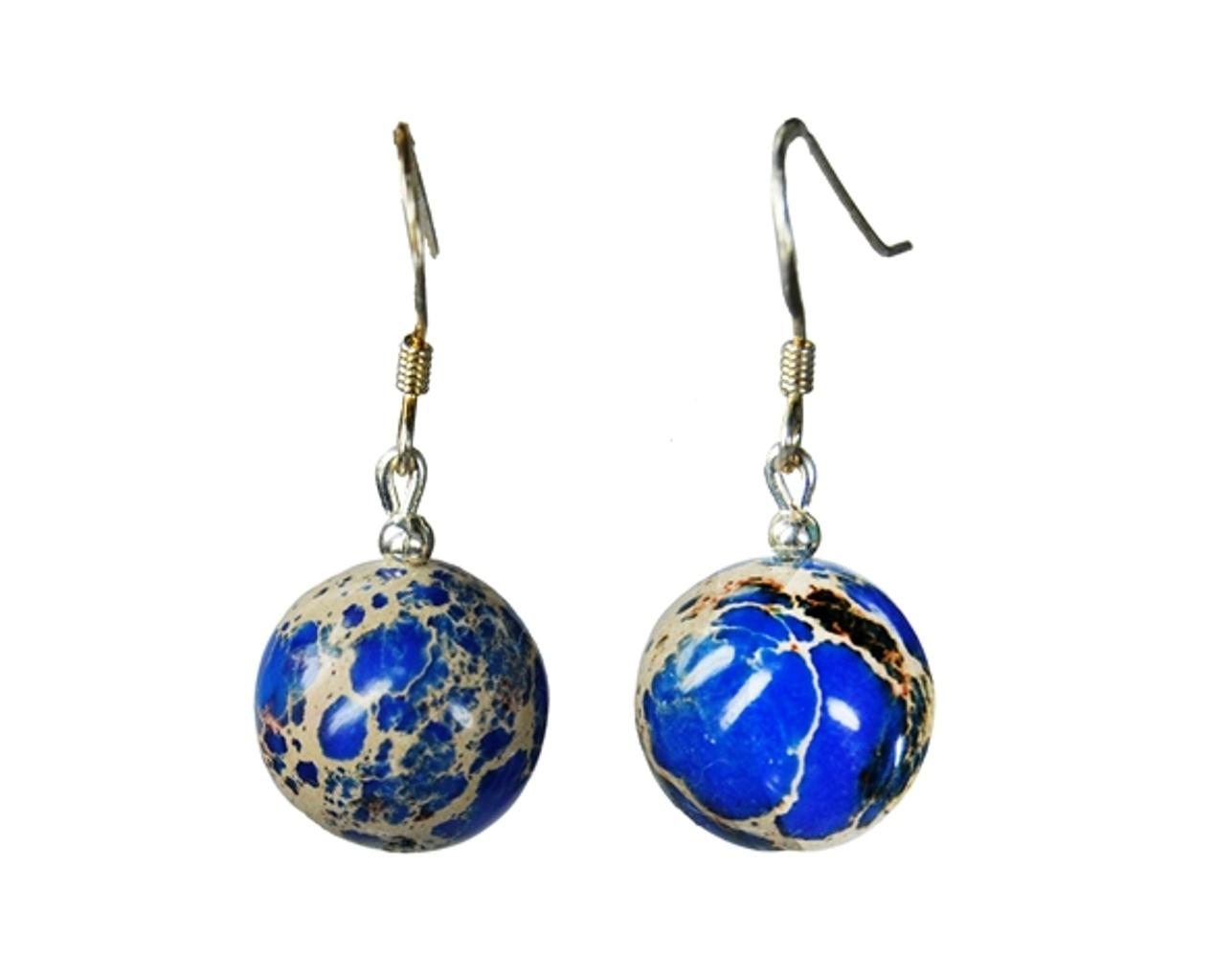 Blue Sea Sediment Jasper Dangle Earrings 35x10mm